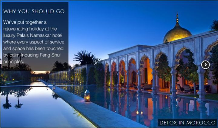Detox in Morocco in the tap of luxury at Palais Namaskar